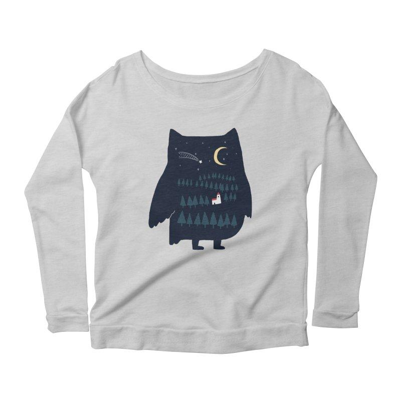 Night Owl Women's Longsleeve Scoopneck  by ilovedoodle's Artist Shop