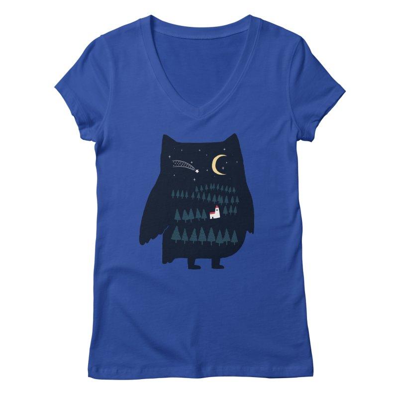 Night Owl Women's V-Neck by ilovedoodle's Artist Shop