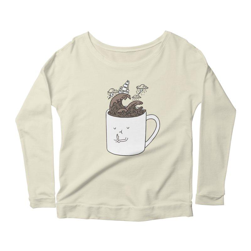 Brainstorming Coffee Mug Women's Longsleeve Scoopneck  by ilovedoodle's Artist Shop