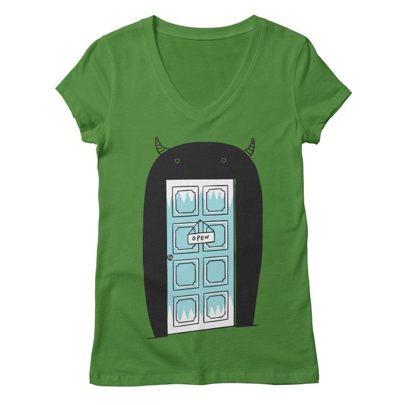 Monster Door Women's V-Neck by ilovedoodle's Artist Shop