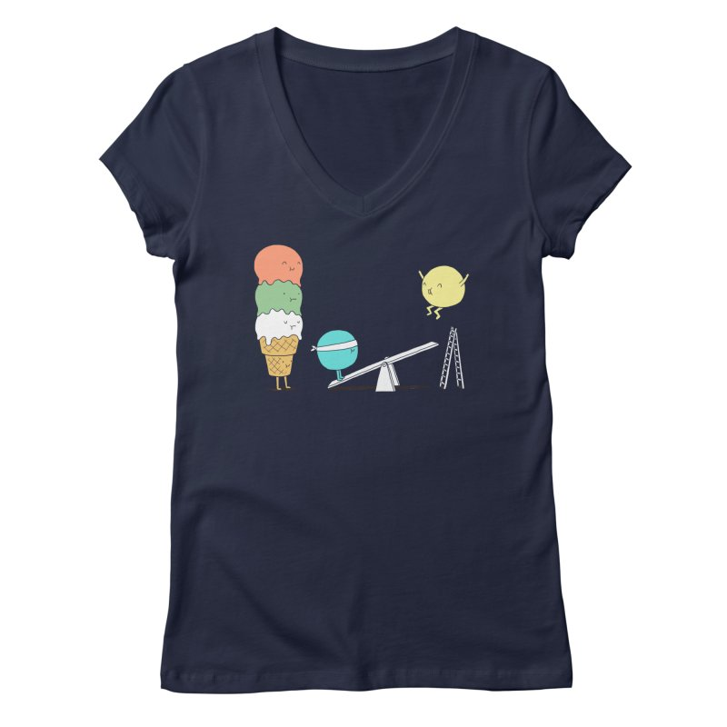 Acrobatic Ice Cream Women's V-Neck by ilovedoodle's Artist Shop