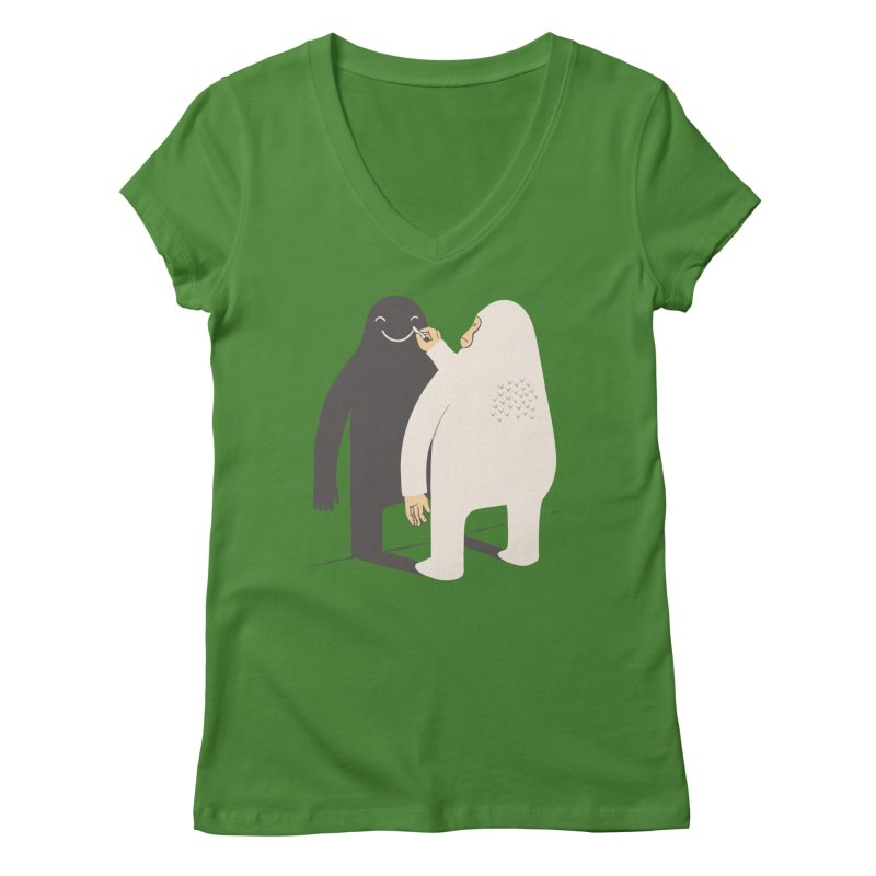 Smile My Shadow Women's V-Neck by ilovedoodle's Artist Shop