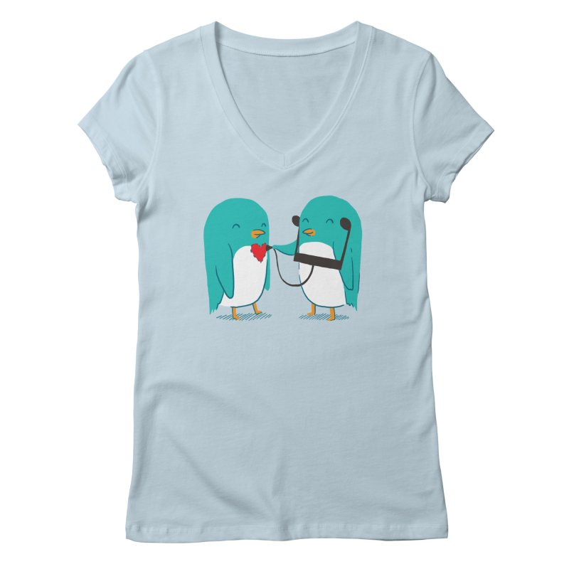 The Sound of Love in Women's Regular V-Neck Baby Blue by ilovedoodle's Artist Shop