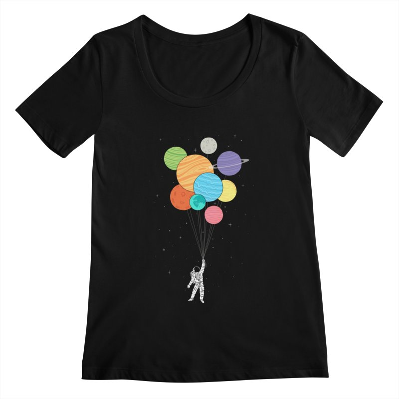 Planet Balloons Women's Scoopneck by ilovedoodle's Artist Shop