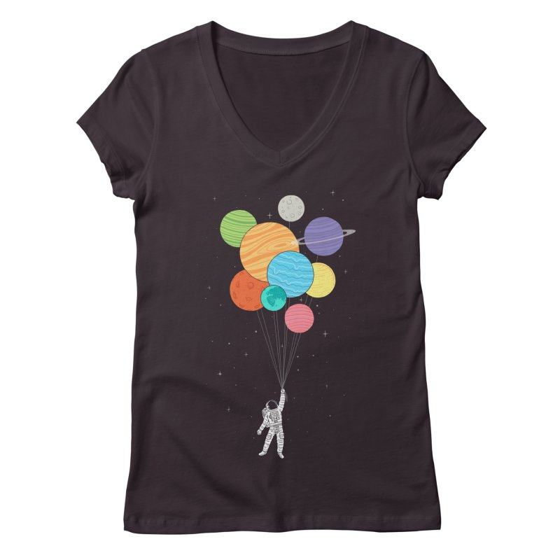 Planet Balloons Women's V-Neck by ilovedoodle's Artist Shop