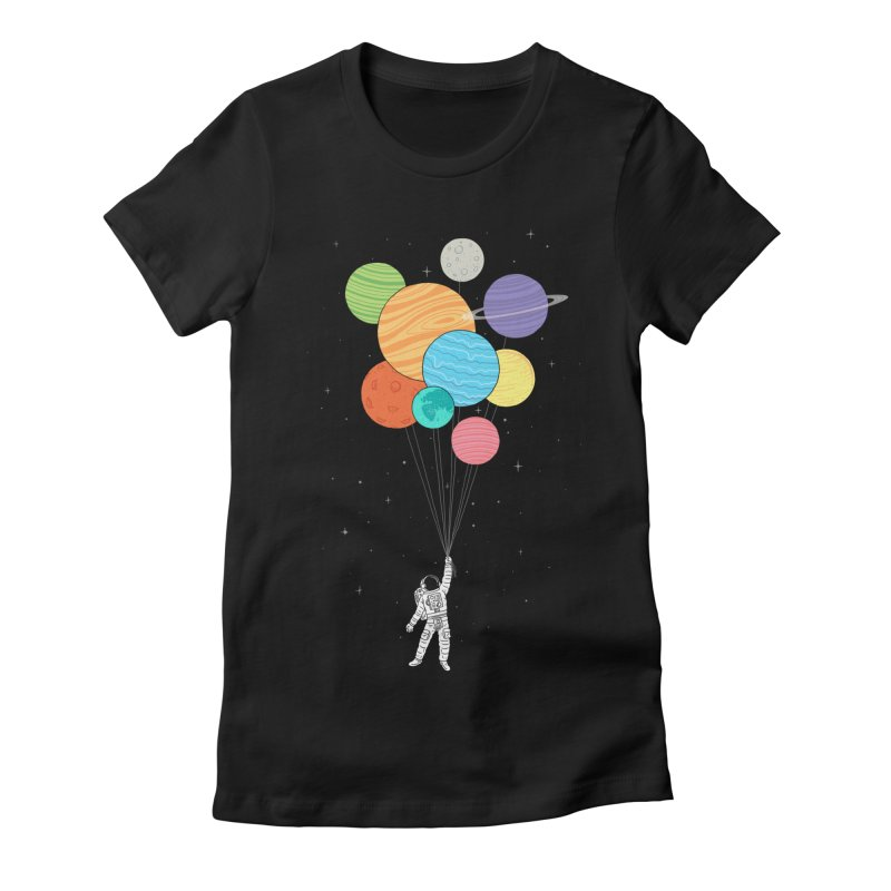Planet Balloons Women's Fitted T-Shirt by ilovedoodle's Artist Shop