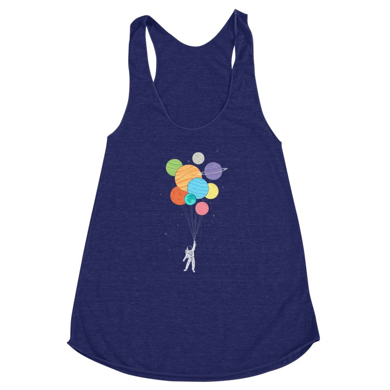 Planet Balloons Women's Racerback Triblend Tank by ilovedoodle's Artist Shop