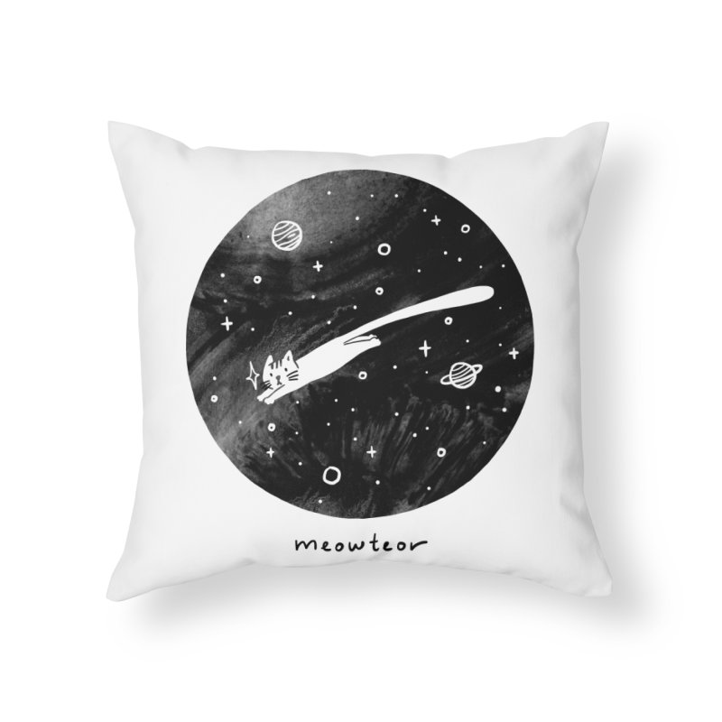 Meowteor Home Throw Pillow by ilovedoodle's Artist Shop