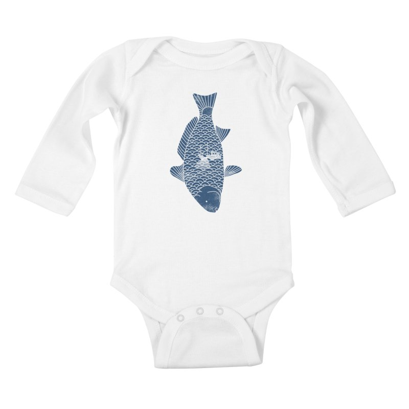 Fishing in a fish Kids Baby Longsleeve Bodysuit by ilovedoodle's Artist Shop