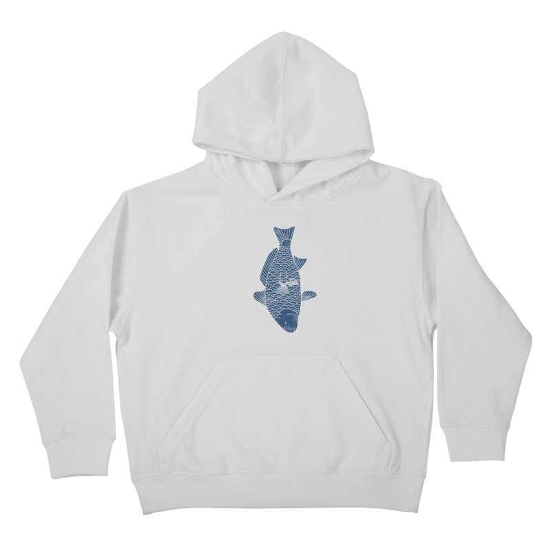 Fishing in a fish Kids Pullover Hoody by ilovedoodle's Artist Shop