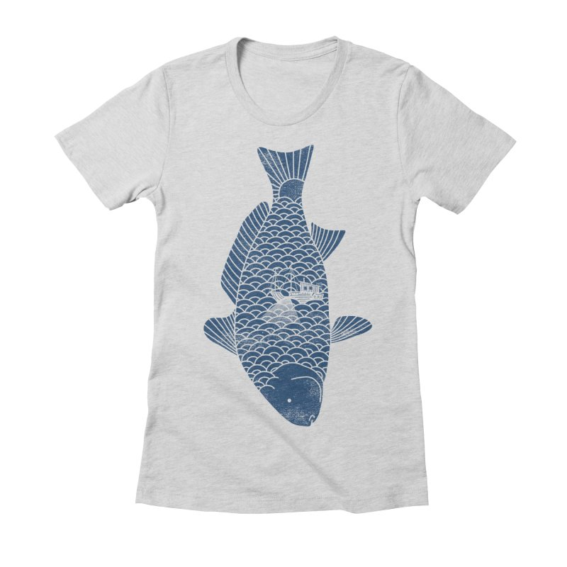 Fishing in a fish Women's Fitted T-Shirt by ilovedoodle's Artist Shop
