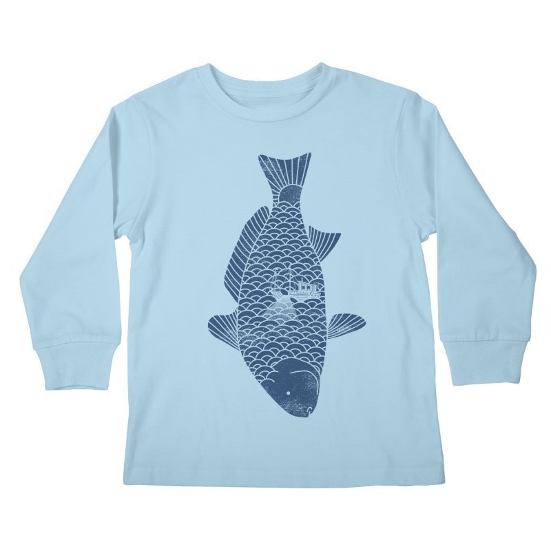 Fishing in a fish Kids Longsleeve T-Shirt by ilovedoodle's Artist Shop
