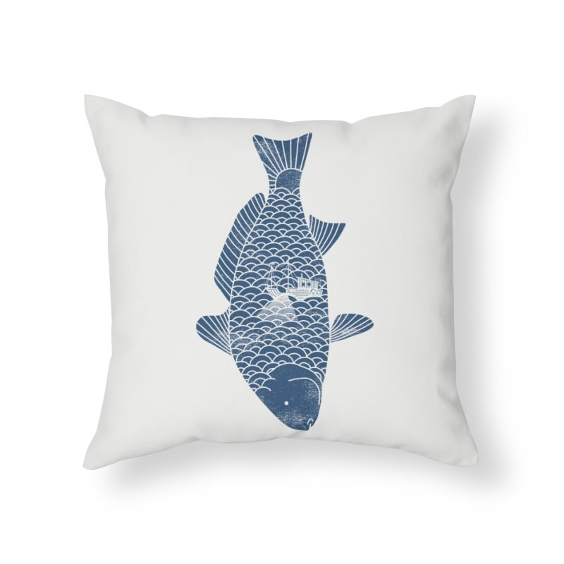 Fishing in a fish Home Throw Pillow by ilovedoodle's Artist Shop
