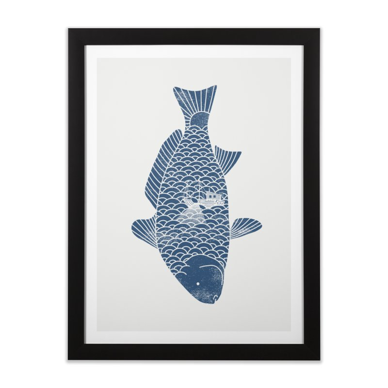 Fishing in a fish Home Framed Fine Art Print by ilovedoodle's Artist Shop