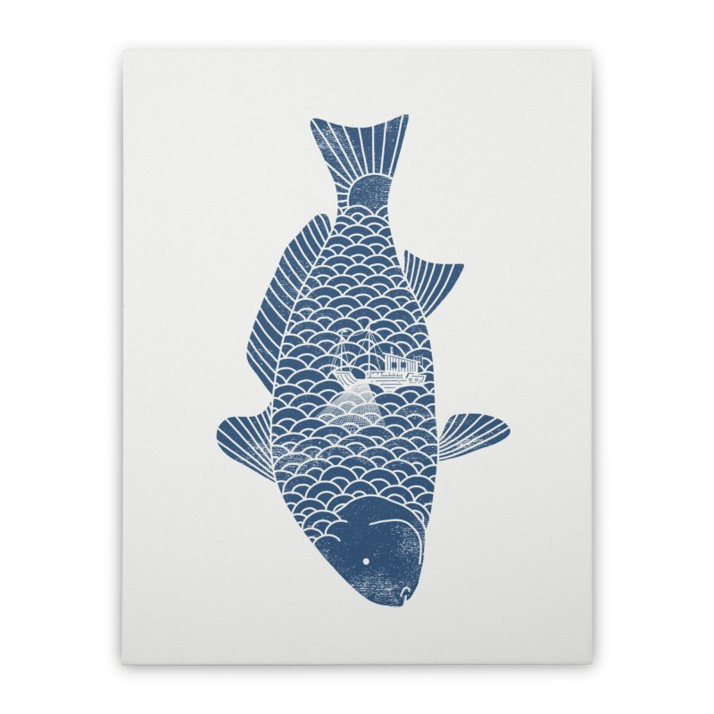 Fishing in a fish Home Stretched Canvas by ilovedoodle's Artist Shop