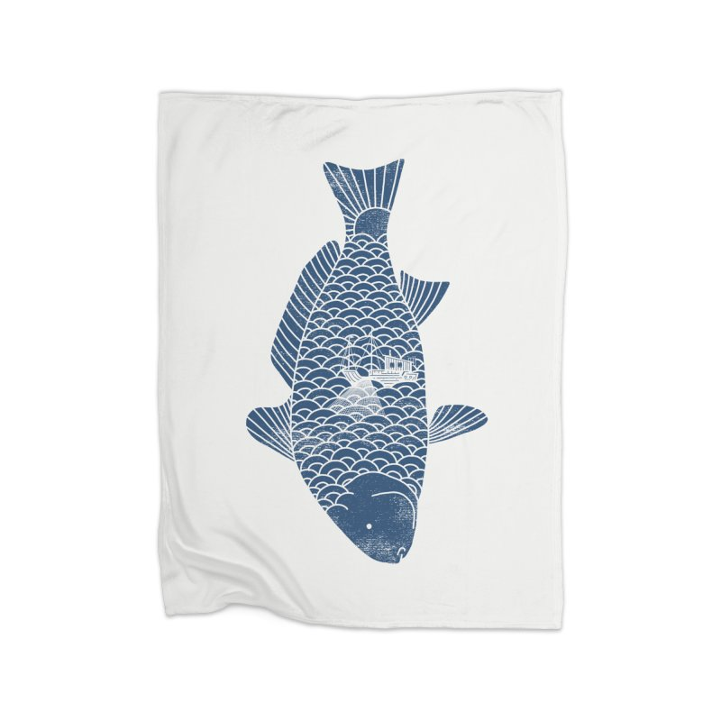 Fishing in a fish Home Fleece Blanket by ilovedoodle's Artist Shop