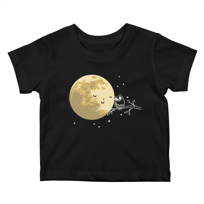 Owl and Moon Kids Baby T-Shirt by ilovedoodle's Artist Shop