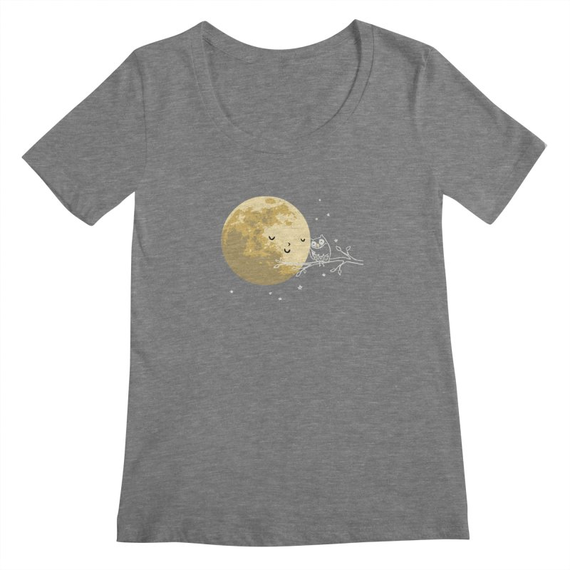 Owl and Moon Women's Scoopneck by ilovedoodle's Artist Shop