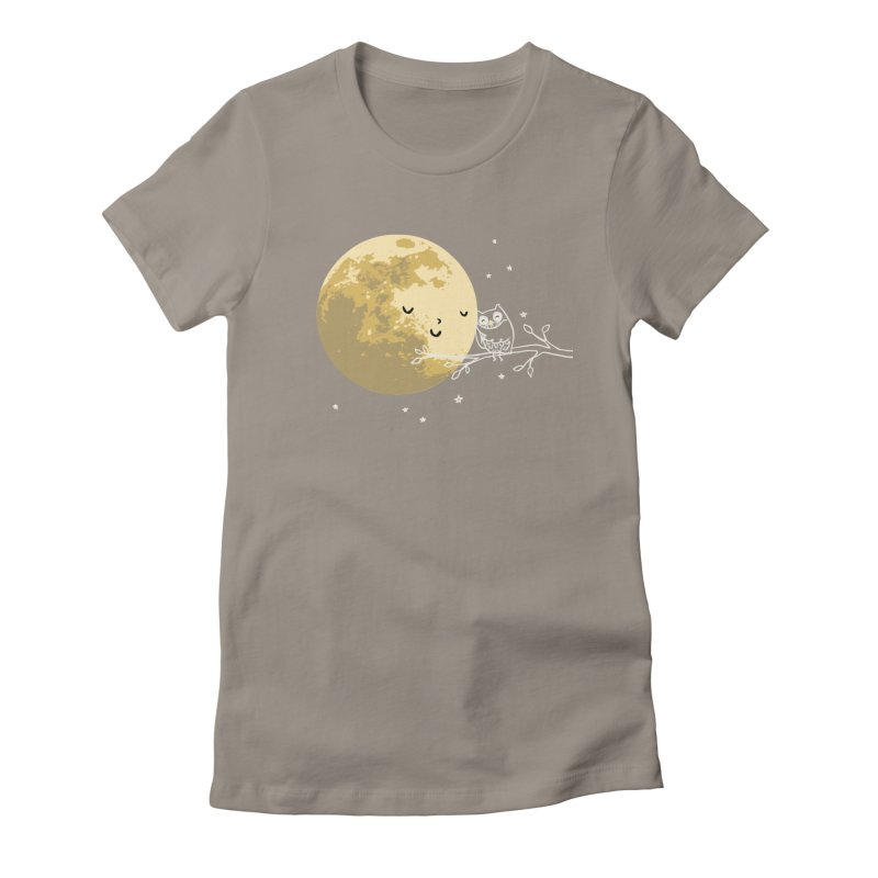 Owl and Moon Women's Fitted T-Shirt by ilovedoodle's Artist Shop