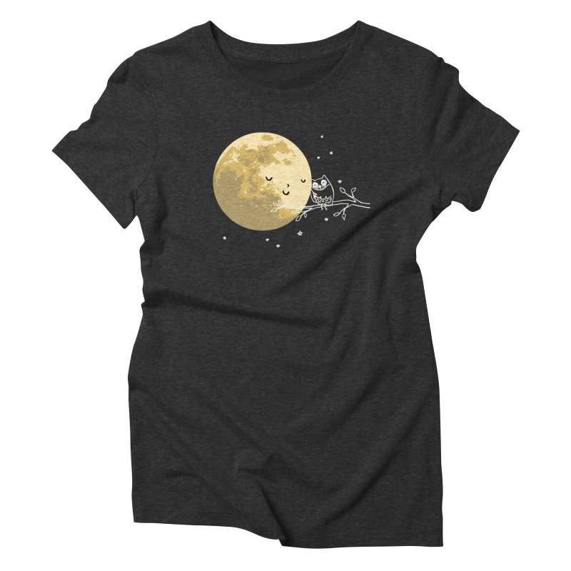 Owl and Moon Women's Triblend T-Shirt by ilovedoodle's Artist Shop