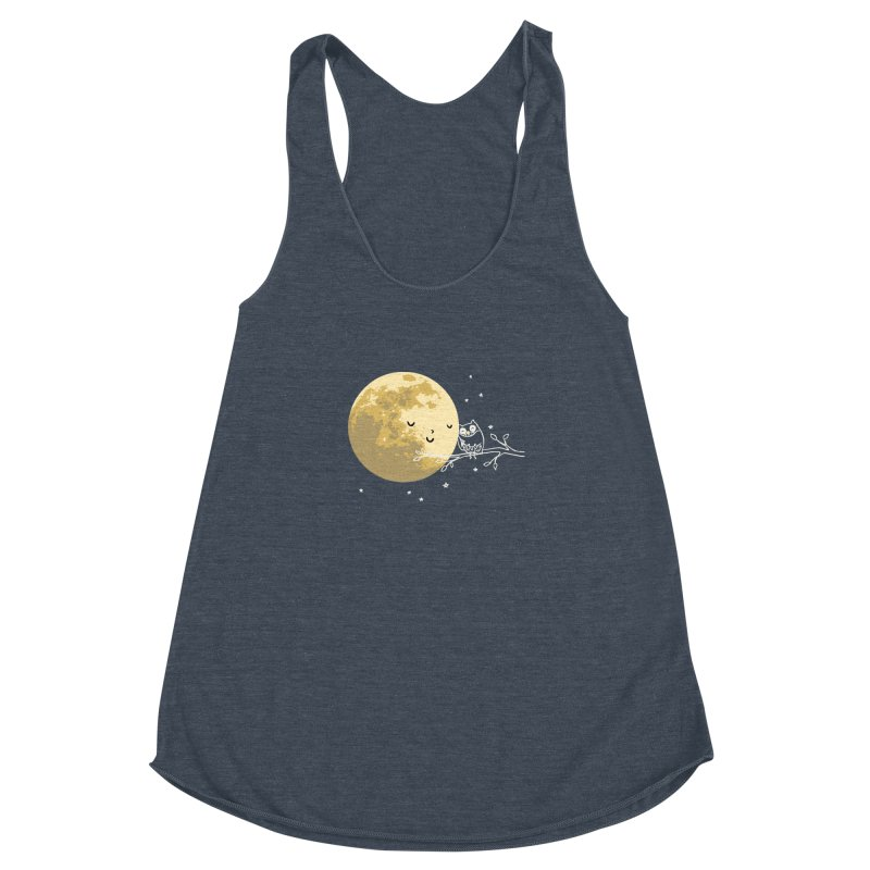 Owl and Moon Women's Racerback Triblend Tank by ilovedoodle's Artist Shop