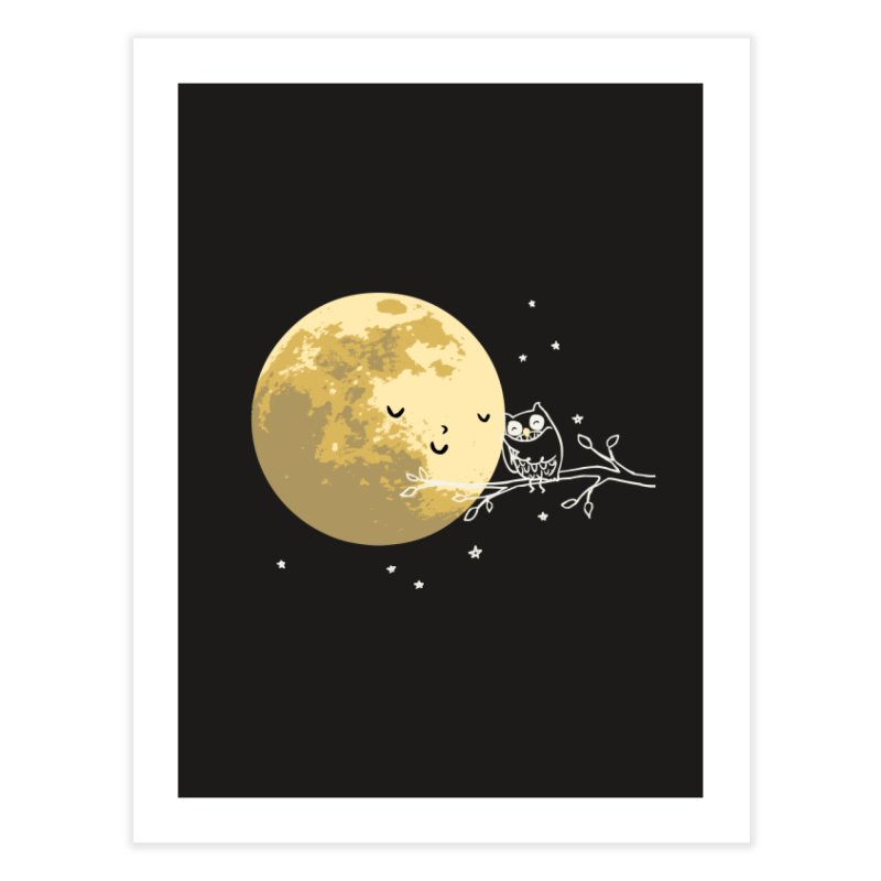 Owl and Moon Home Fine Art Print by ilovedoodle's Artist Shop