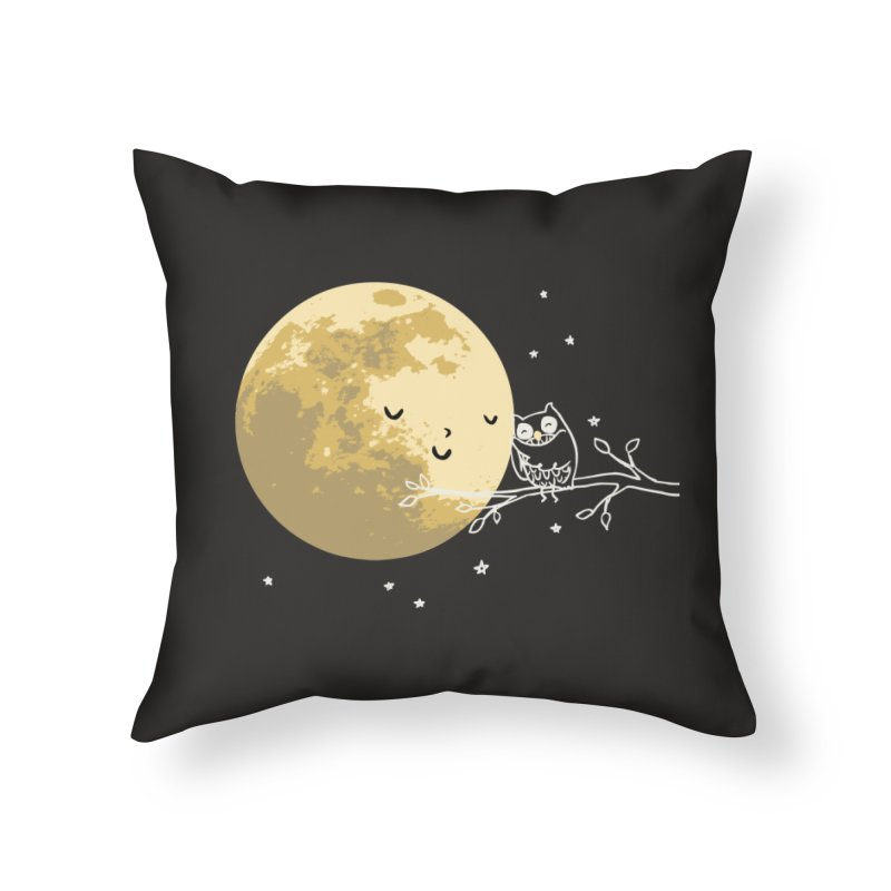 Owl and Moon Home Throw Pillow by ilovedoodle's Artist Shop