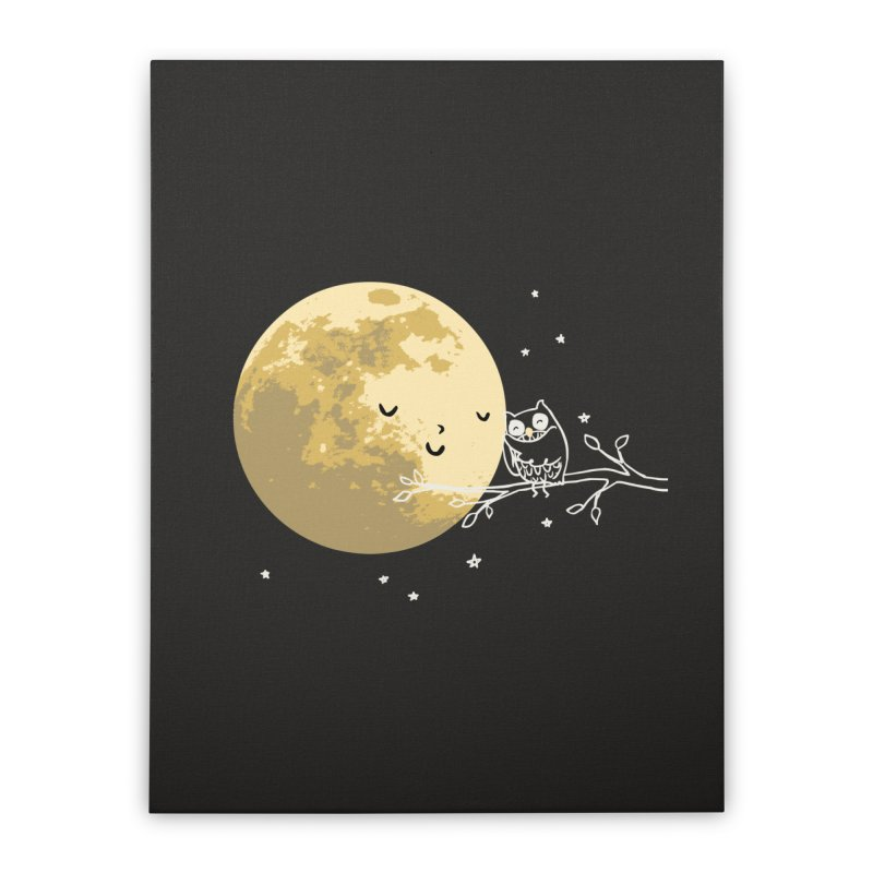 Owl and Moon Home Stretched Canvas by ilovedoodle's Artist Shop