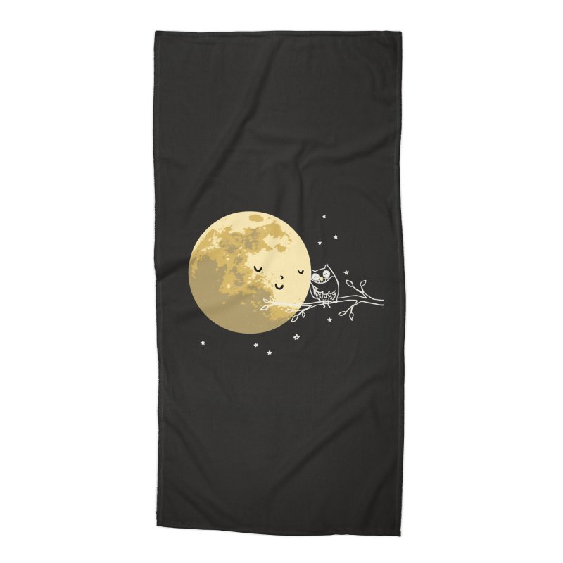 Owl and Moon Accessories Beach Towel by ilovedoodle's Artist Shop