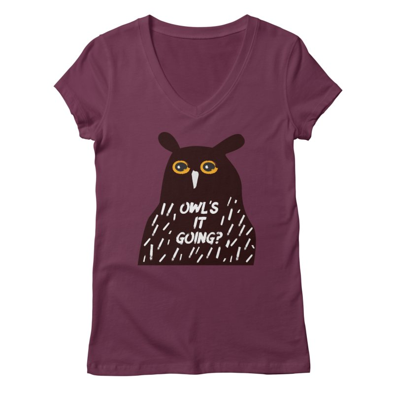 Owl's It Going? Women's Regular V-Neck by Avo G'day!