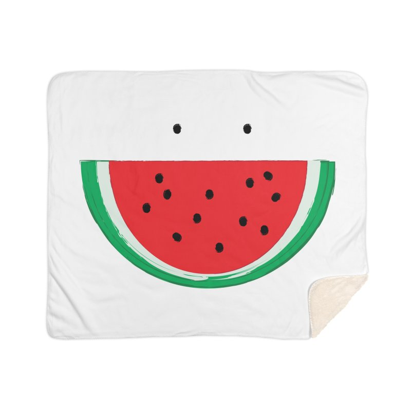Happy Watermelon Home Sherpa Blanket Blanket by Avo G'day!