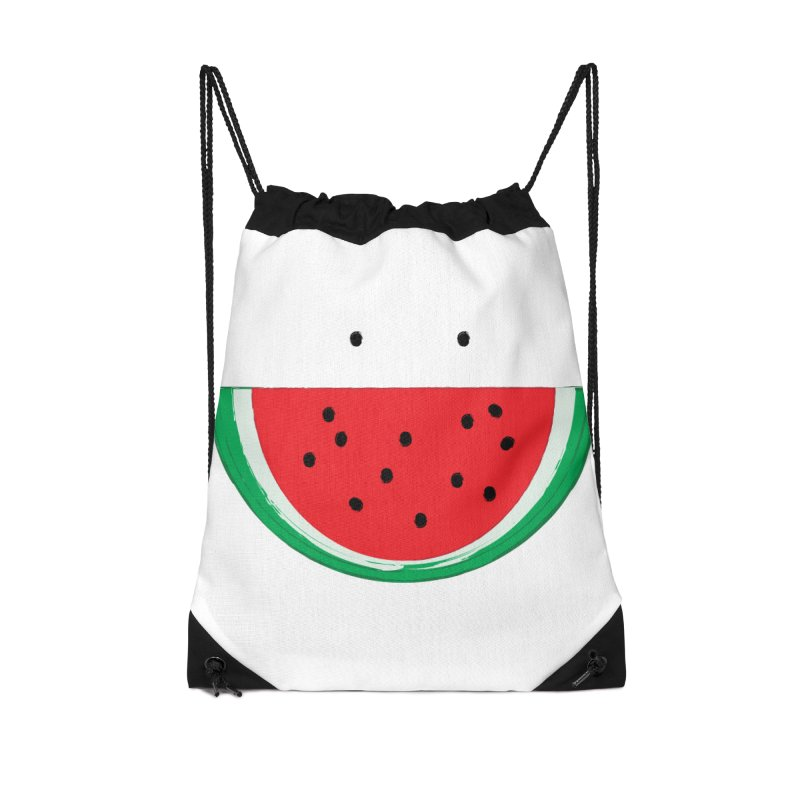 Happy Watermelon Accessories Drawstring Bag Bag by Avo G'day!