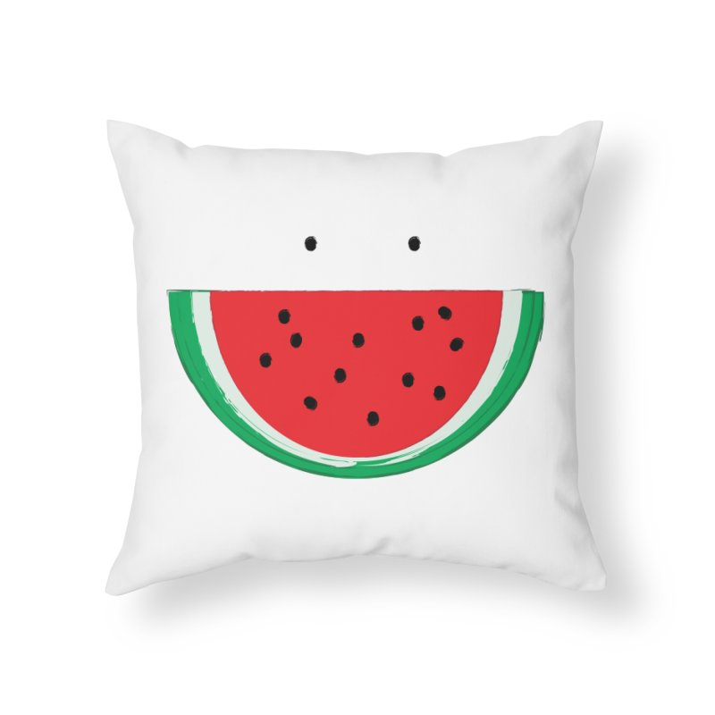 Happy Watermelon Home Throw Pillow by Avo G'day!