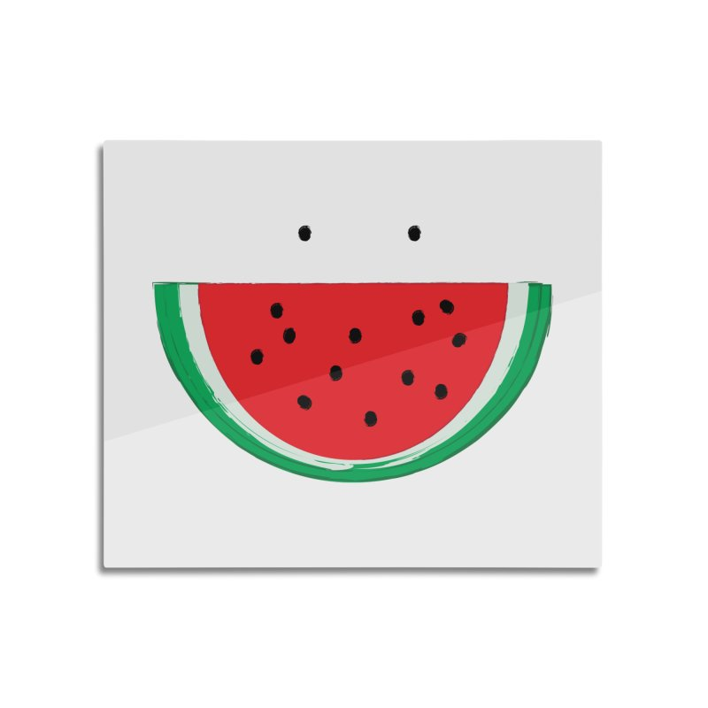 Happy Watermelon Home Mounted Aluminum Print by Avo G'day!