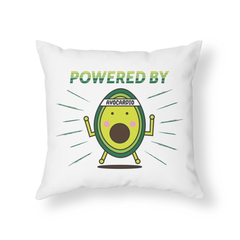 Powered by Avocado Home Throw Pillow by Avo G'day!