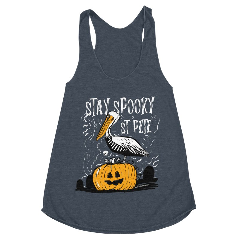 Stay Spooky St. Pete Women's Racerback Triblend Tank by I Love the Burg Swag