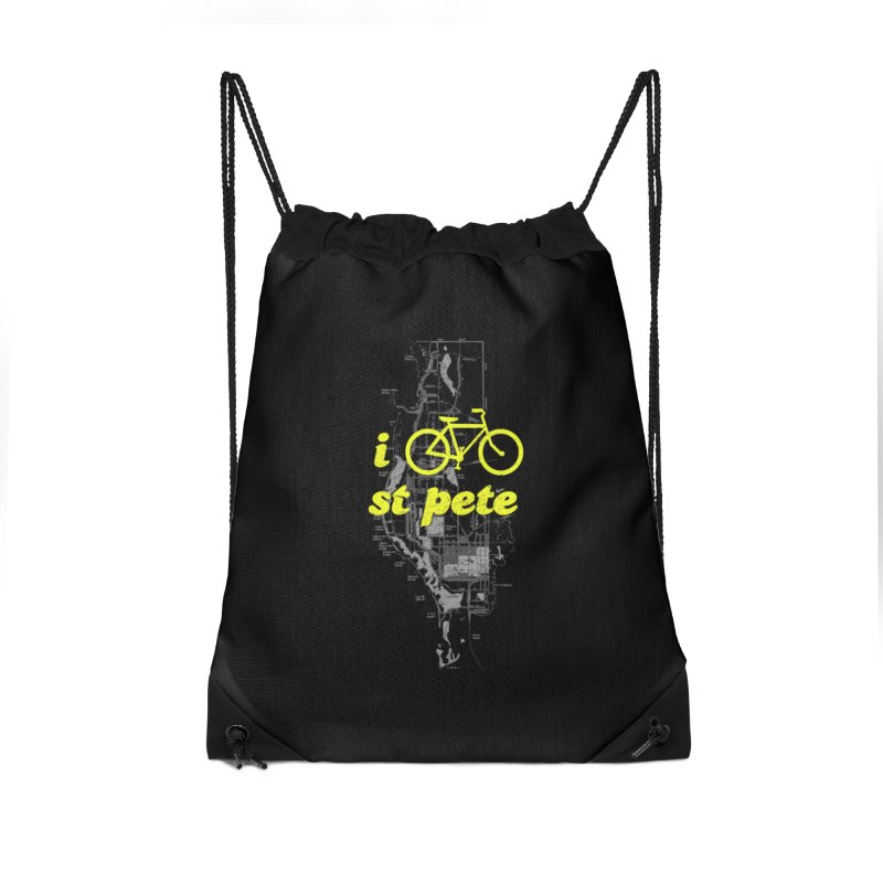 I Bike St. Pete Accessories Drawstring Bag Bag by I Love the Burg Swag