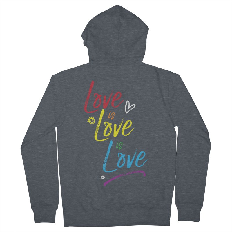 Love is Love is Love Men's French Terry Zip-Up Hoody by I Love the Burg Swag
