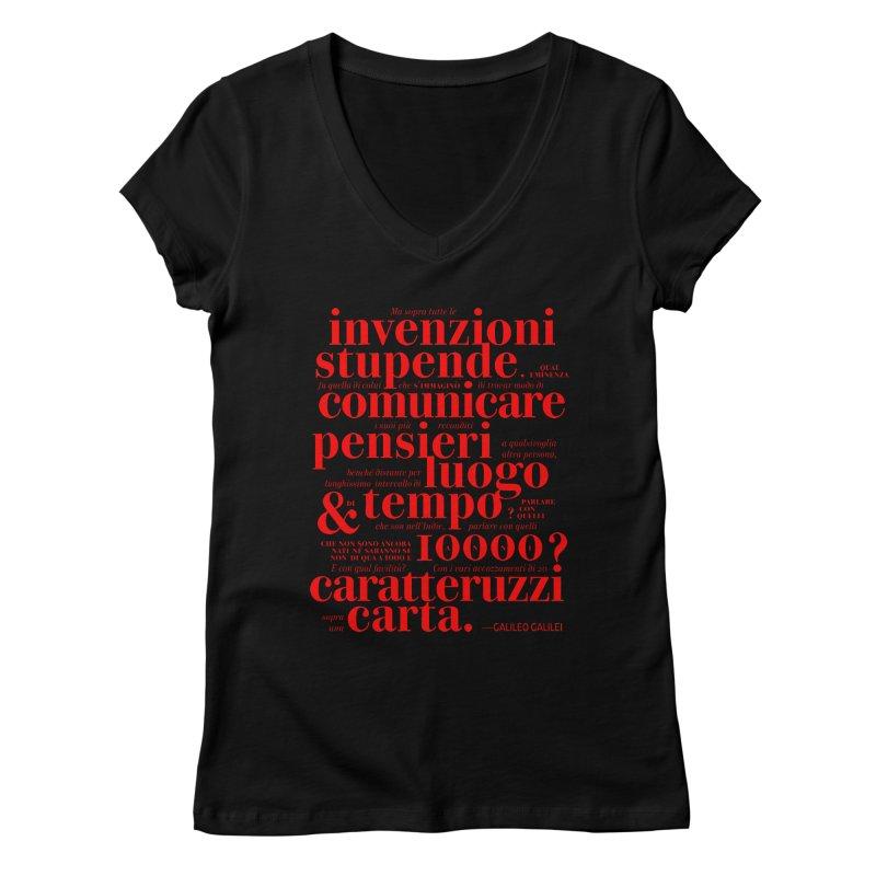 Caratteruzzi / Red on White & Black ed. Women's V-Neck by ilpiac