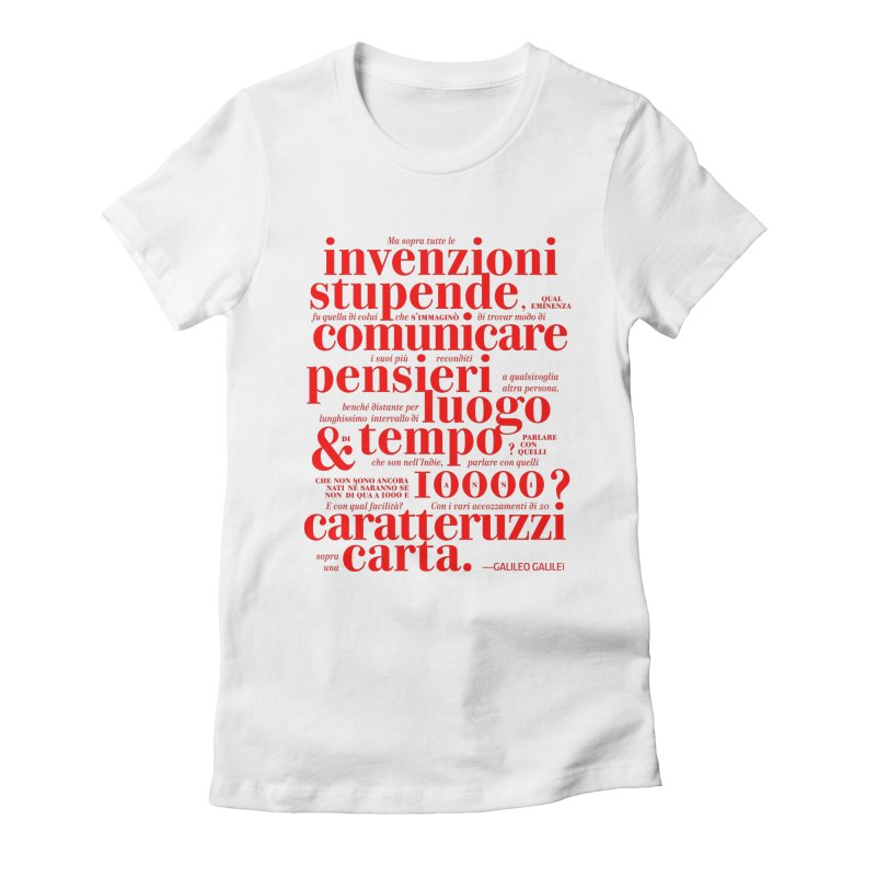 Caratteruzzi / Red on White & Black ed. Women's Fitted T-Shirt by ilpiac
