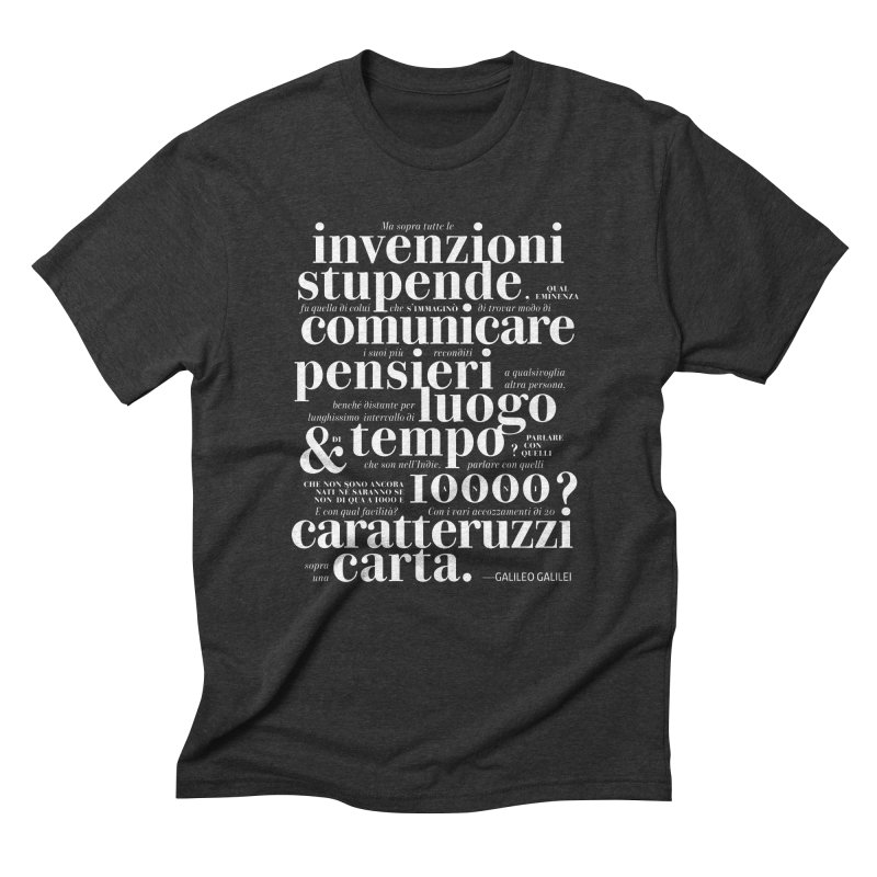 Caratteruzzi / White on Black ed. in Men's Triblend T-Shirt Heather Onyx by ilpiac