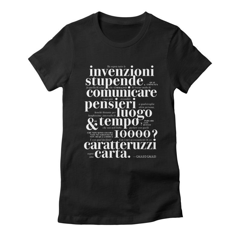Caratteruzzi / White on Black ed. Women's Fitted T-Shirt by ilpiac