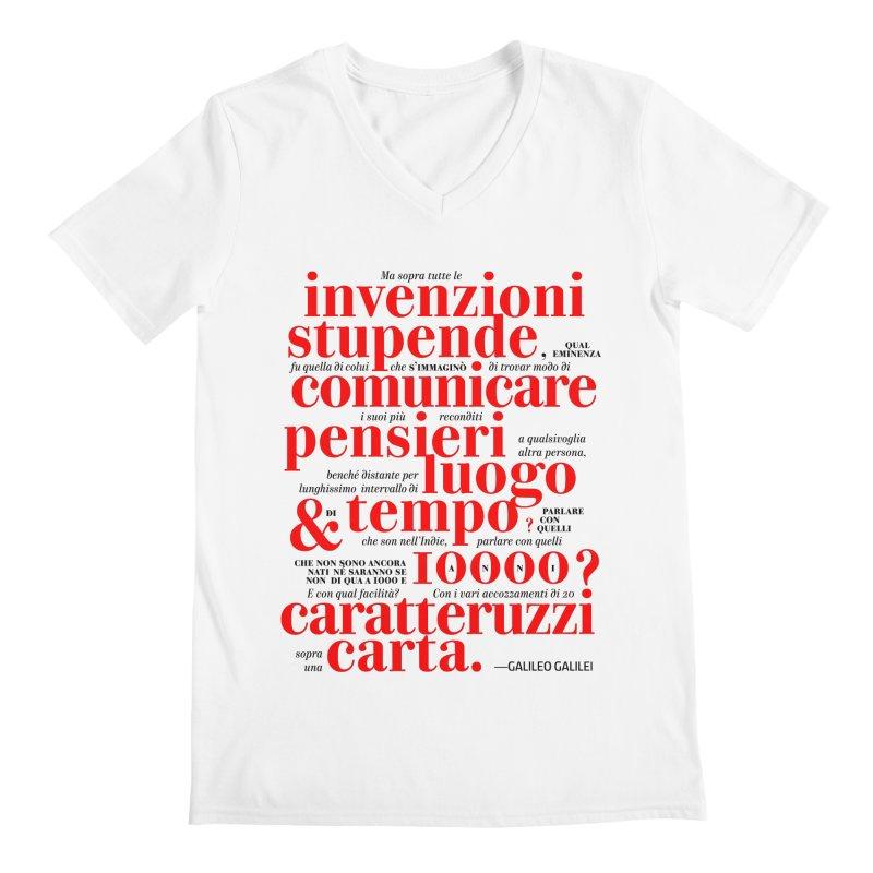 Caratteruzzi / White ed. Men's V-Neck by ilpiac