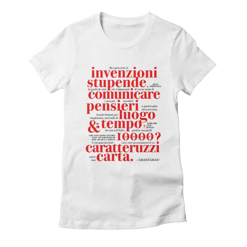 Caratteruzzi / White ed. Women's Fitted T-Shirt by ilpiac