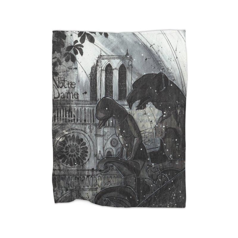 Notre Dame Home Fleece Blanket Blanket by ilustramar's Artist Shop