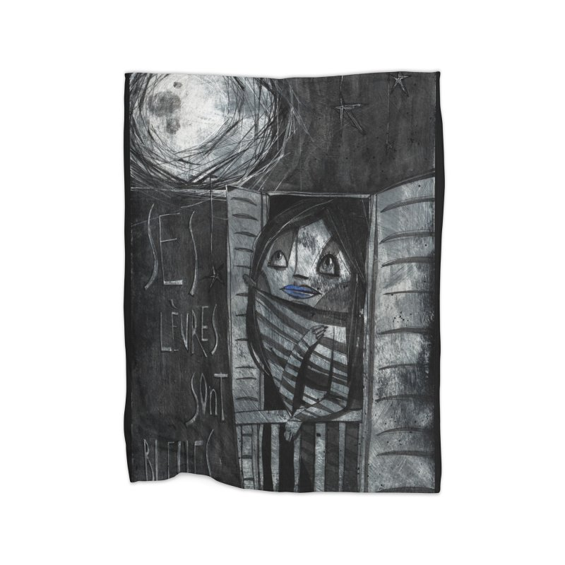 Blue Lips Home Fleece Blanket Blanket by ilustramar's Artist Shop