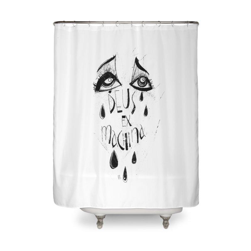 Deus Ex Machina (white) Home Shower Curtain by ilustramar's Artist Shop