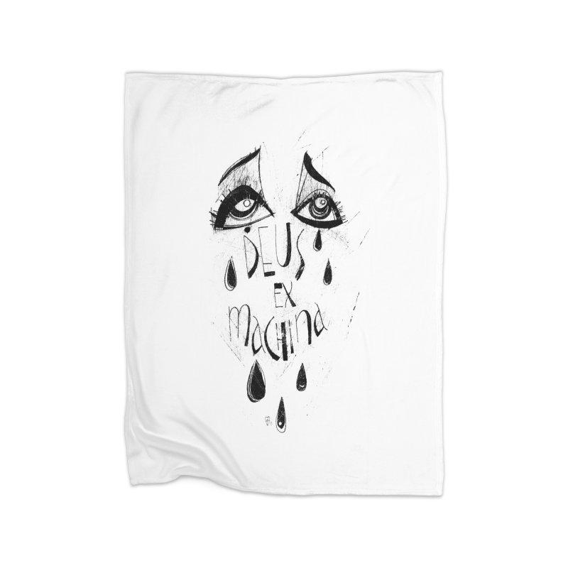 Deus Ex Machina (white) Home Fleece Blanket Blanket by ilustramar's Artist Shop