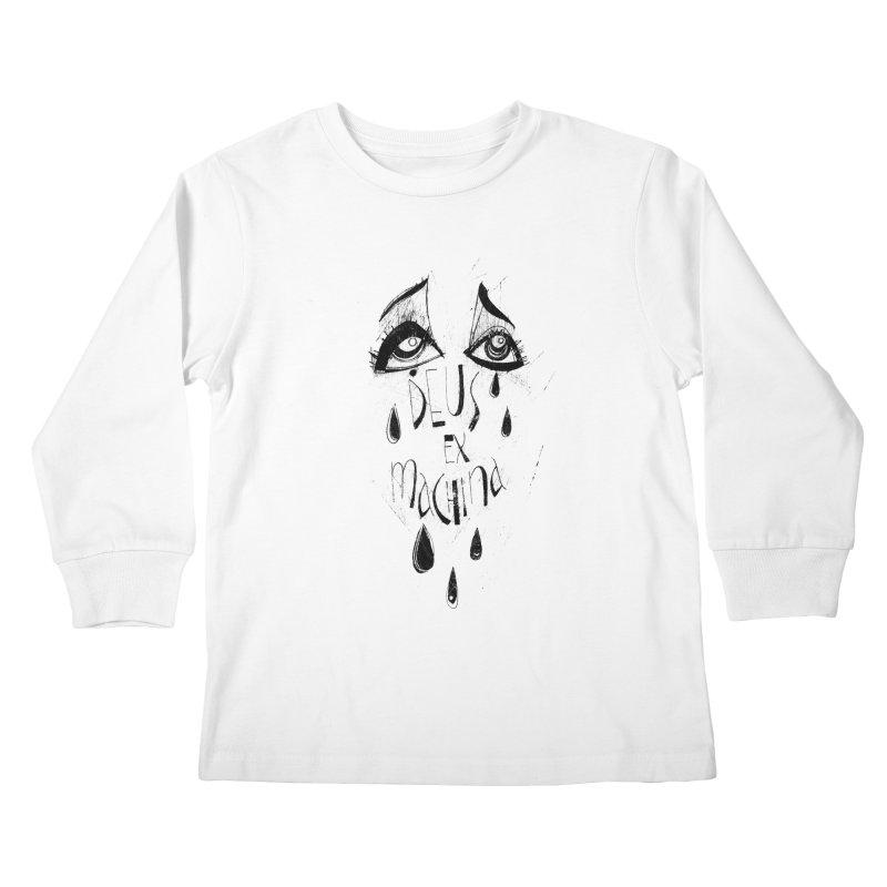 Deus Ex Machina (white) Kids Longsleeve T-Shirt by ilustramar's Artist Shop