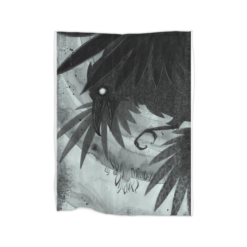 Oiseaux Home Fleece Blanket Blanket by ilustramar's Artist Shop